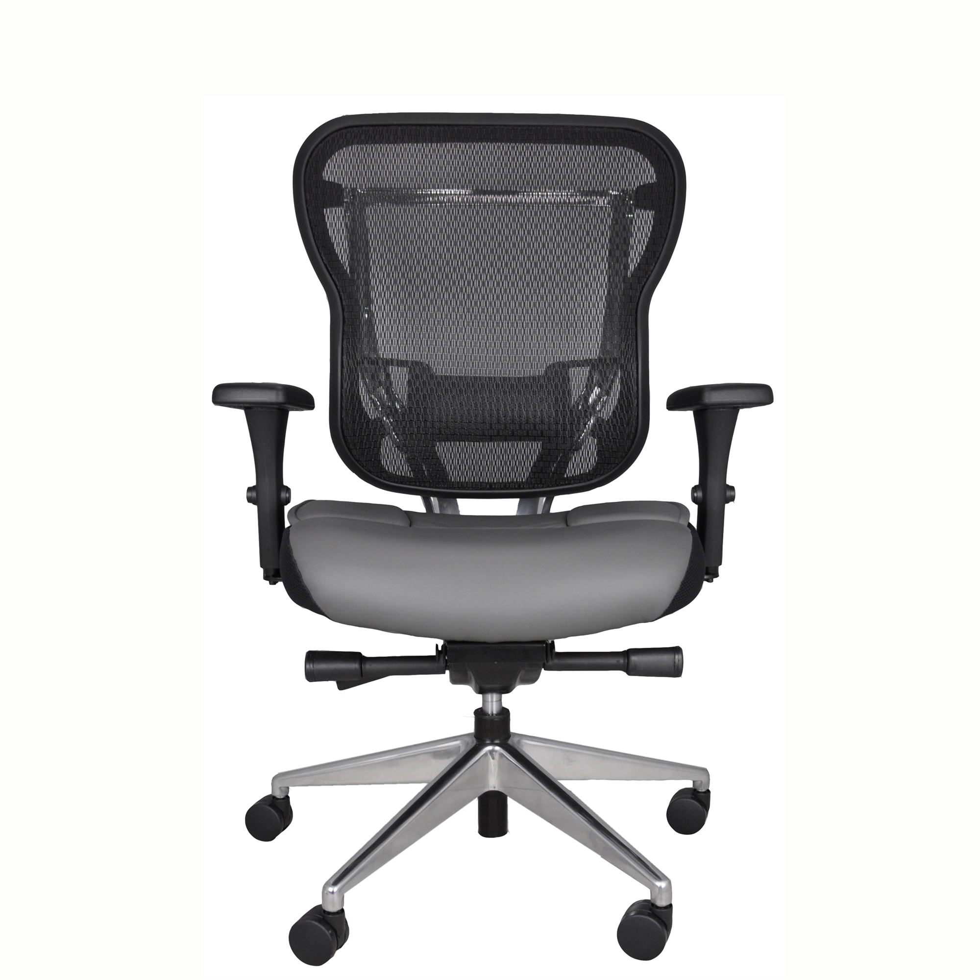Home Office Task Chair With Gray Leather Seat