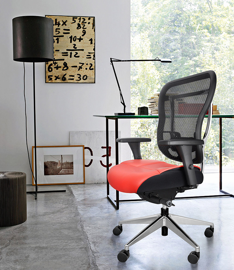 Mesh Back Home Office Chair With Red Leather Seat