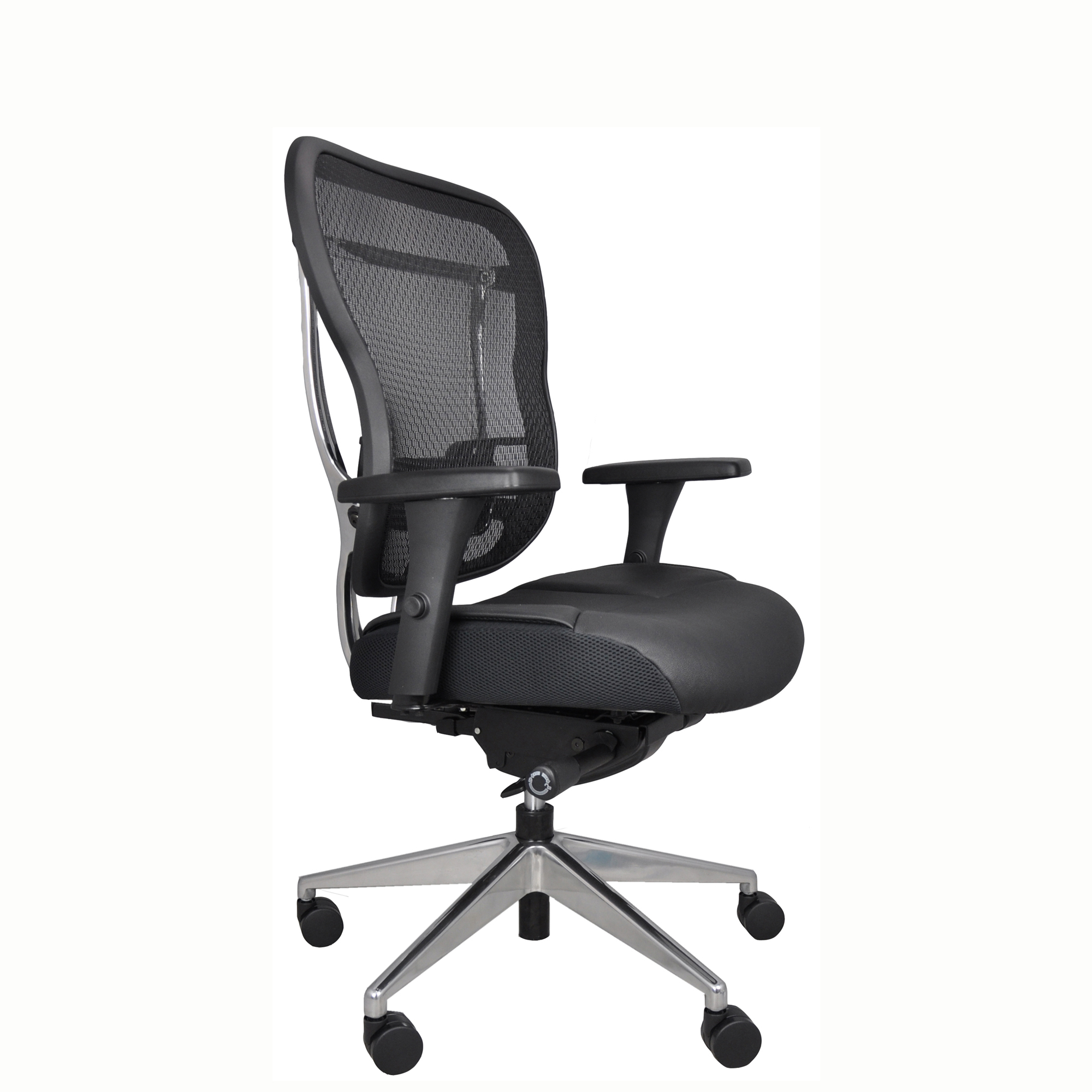 Rika Mesh Back Chair With Black Leather Seat