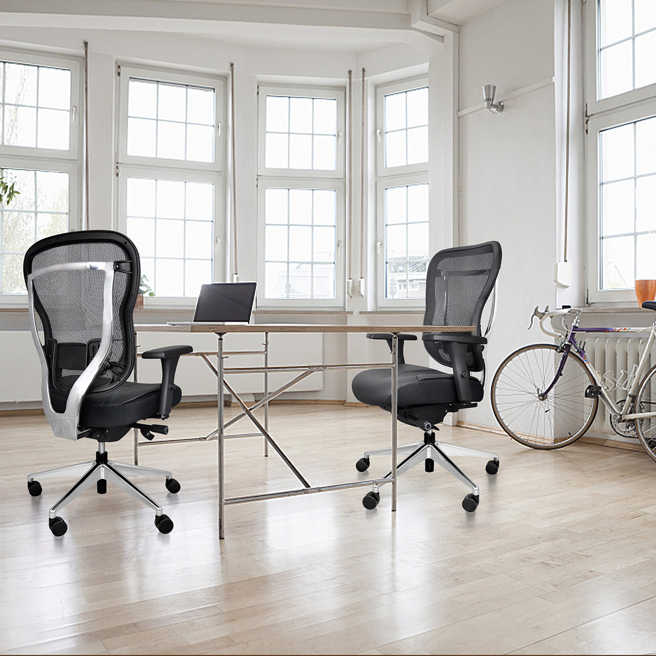 Rika Home Office Chairs With Bllack Leather Seat