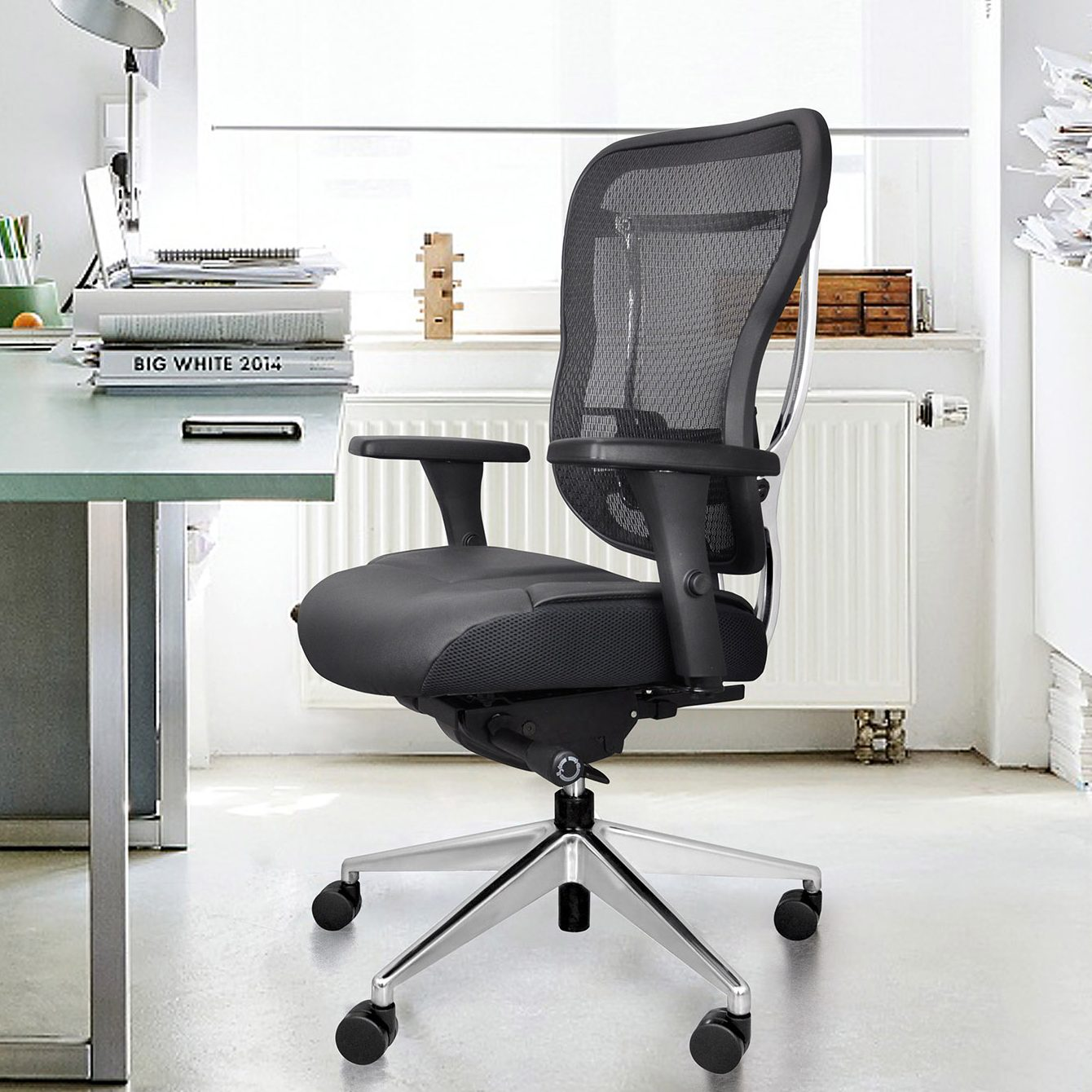 Rika Home Office Chair With Black Leather Seat