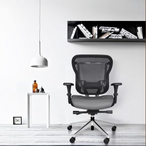 Rika Home Office Chair With Gray Leather Seat