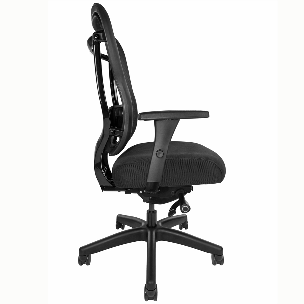 Mesh-back task chair, side view