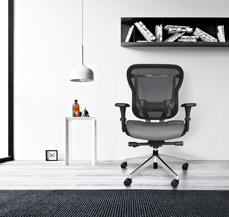 Mesh Back Office Chair with Gray Leather Seat