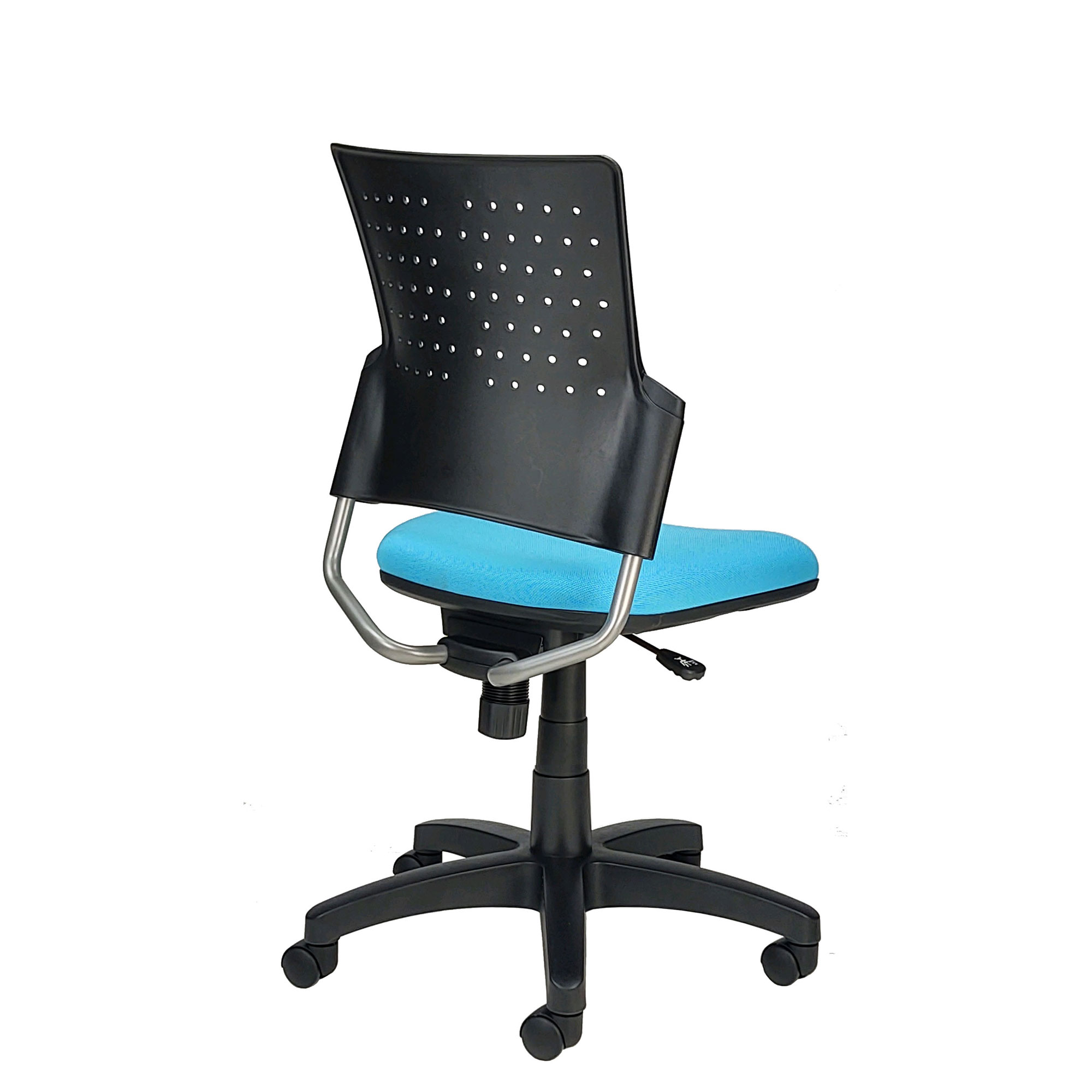 Small office chair with blue seat