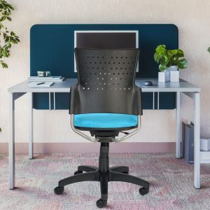 Armless chair with plastic back and teal-colored upholstered seat