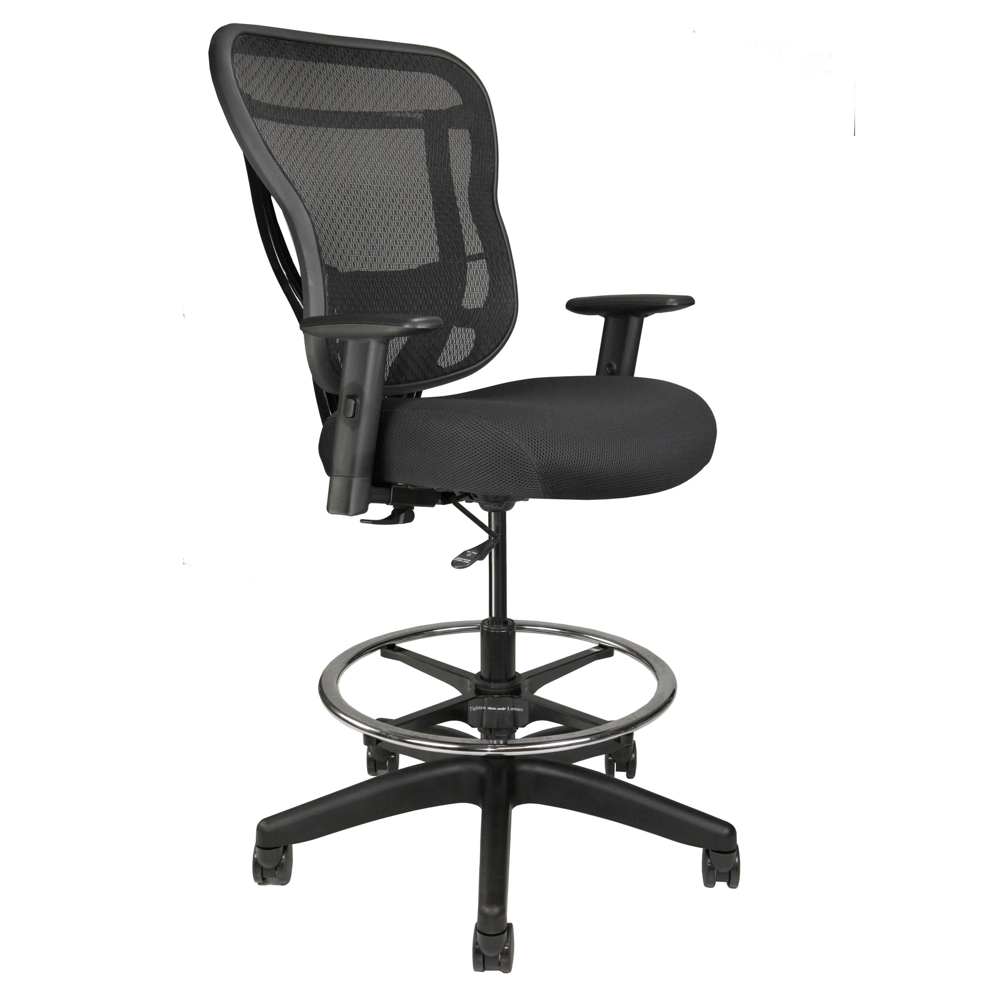 Home Office Stool WIth Arms, Footring, and Wheels