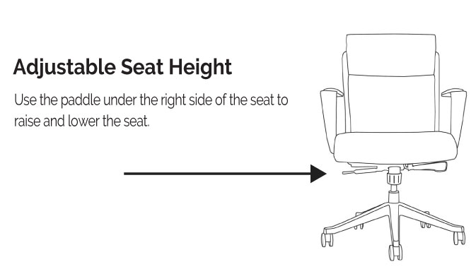 LOD65 & LOD68 Adustable Seat Height Diagram