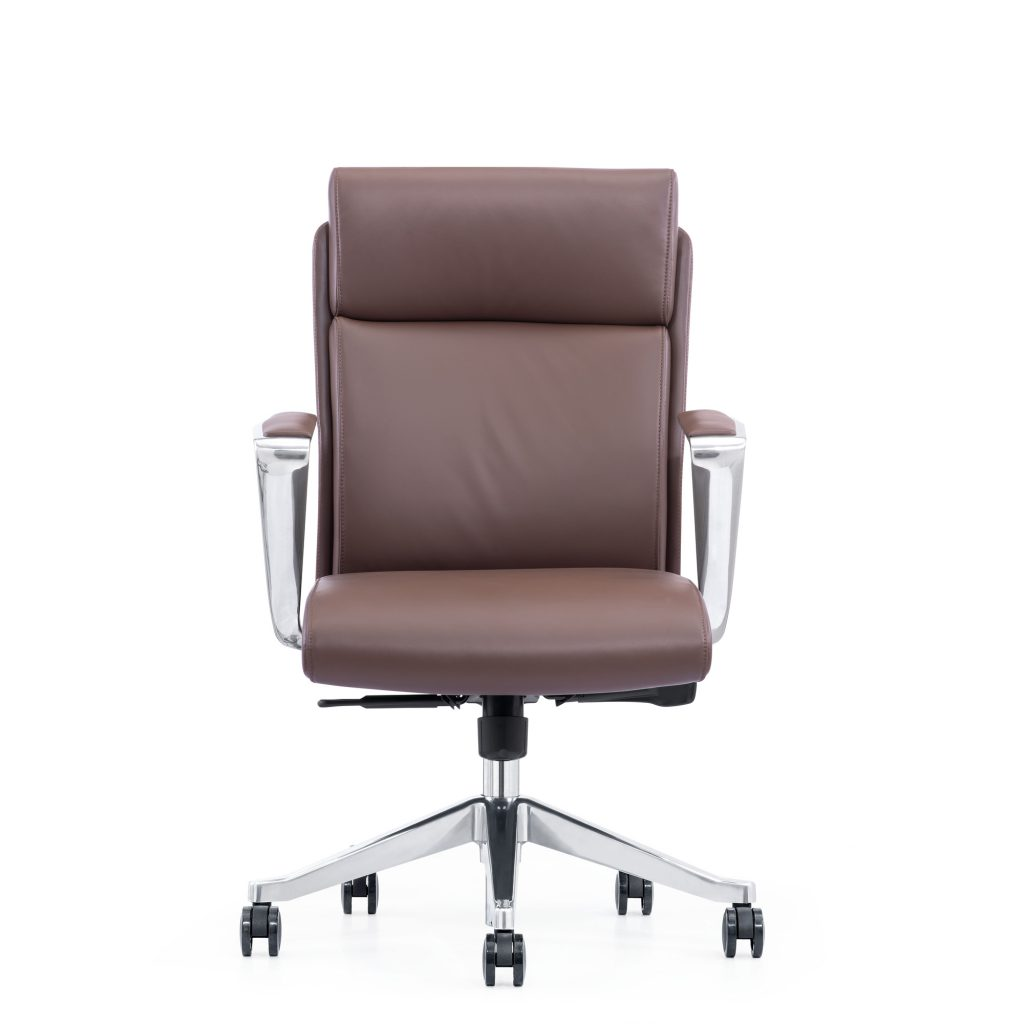 Brown Leather Office Chair With Arms and Wheels