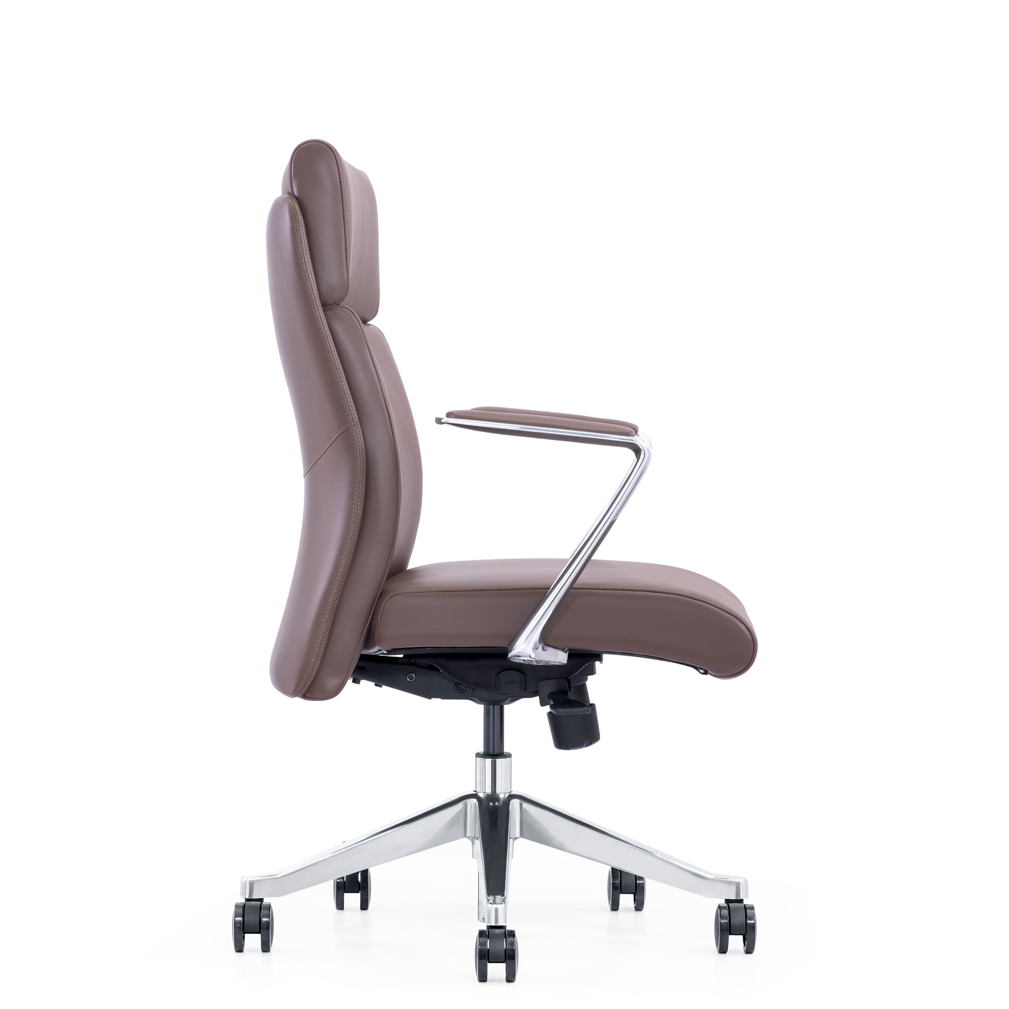 Brown Leather Home Office Chair - Side View