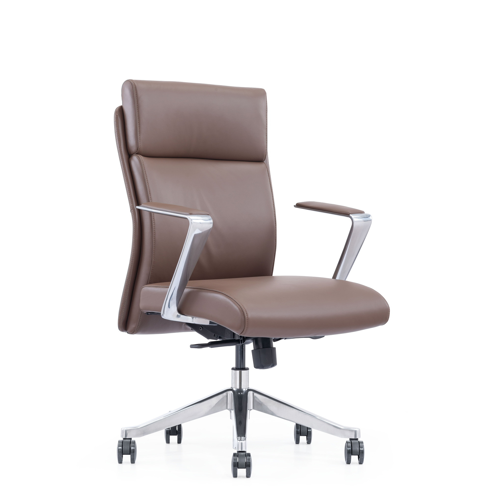 Brown Leather Mid-Back Home Office Chair