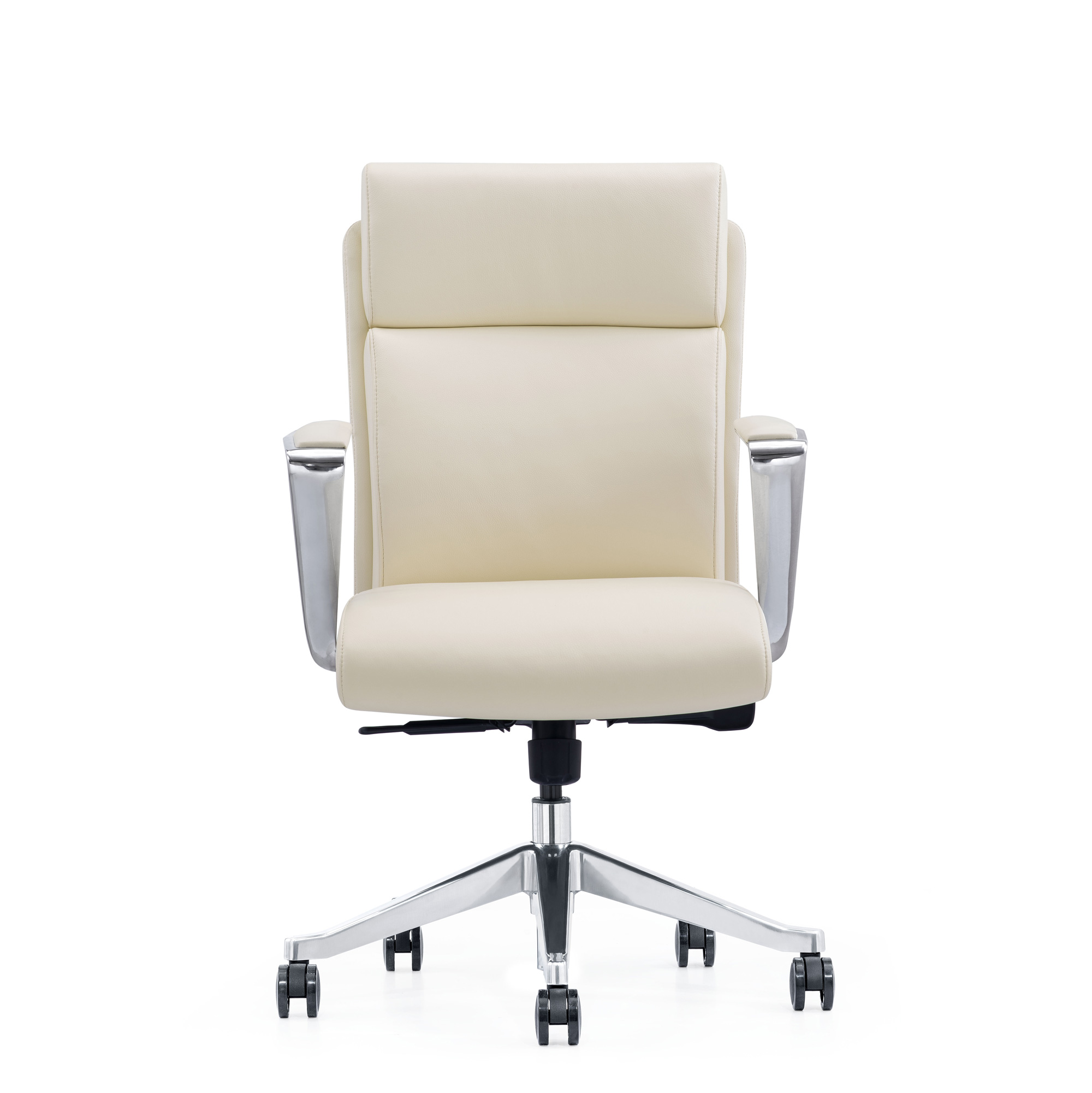 Off-White Leather Mid-Back Home Office Chair