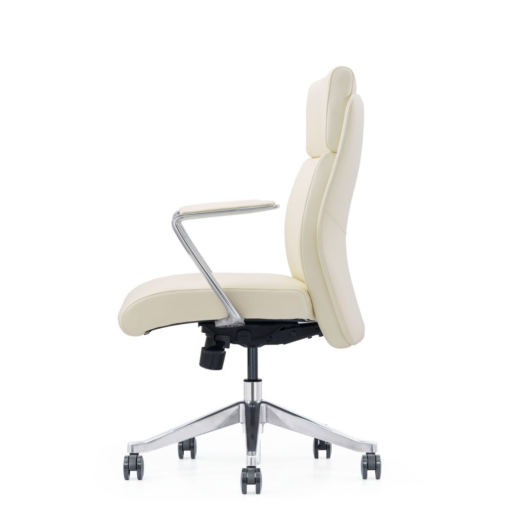 Off-White Leather Home Office Chair