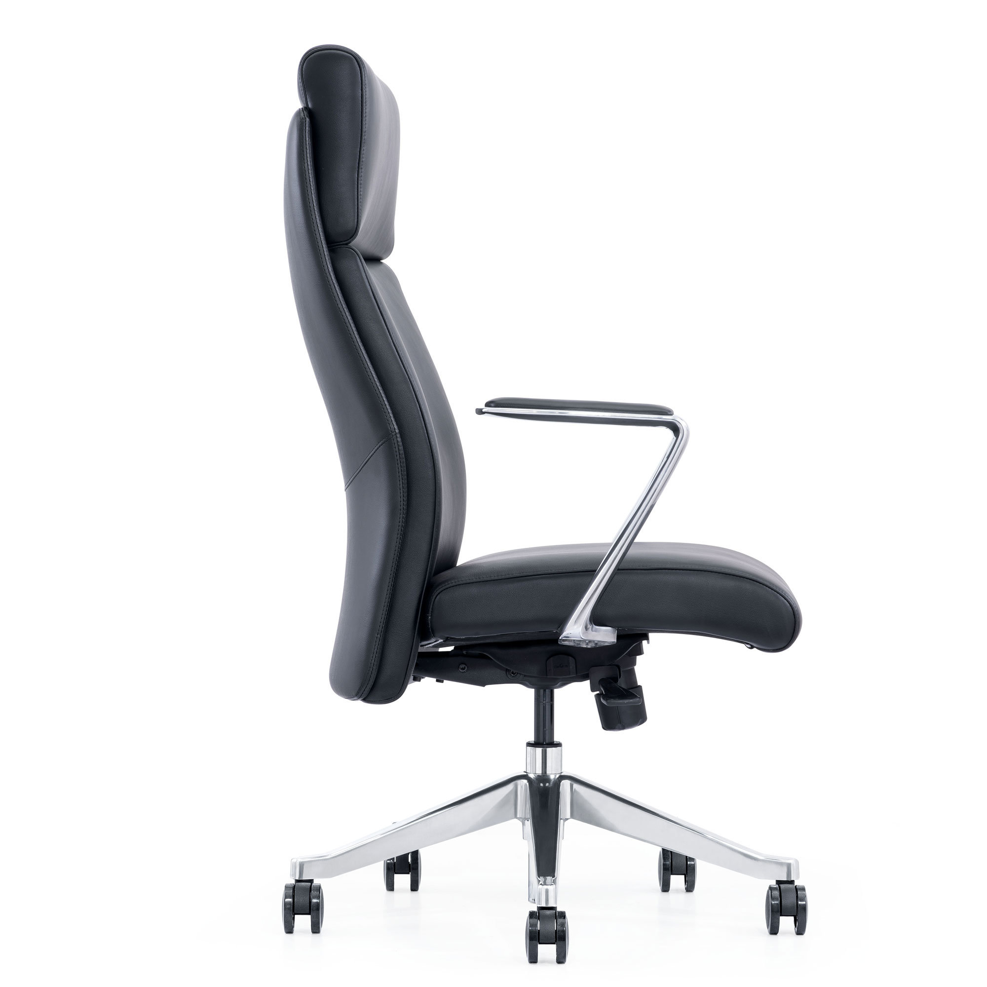 LOD68, leather home office chair, side view