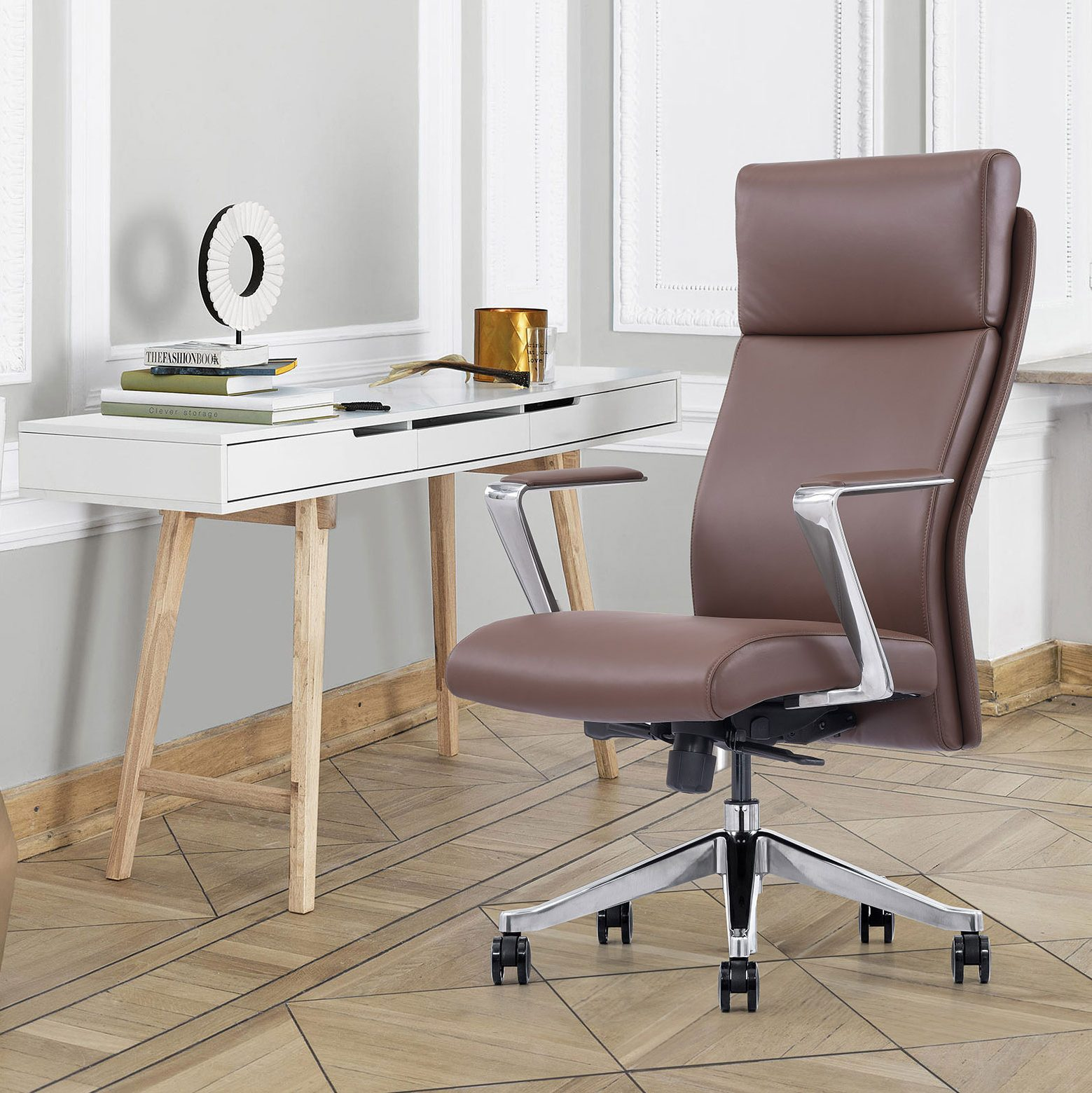 Brown Leather High-Back Home Office Chair