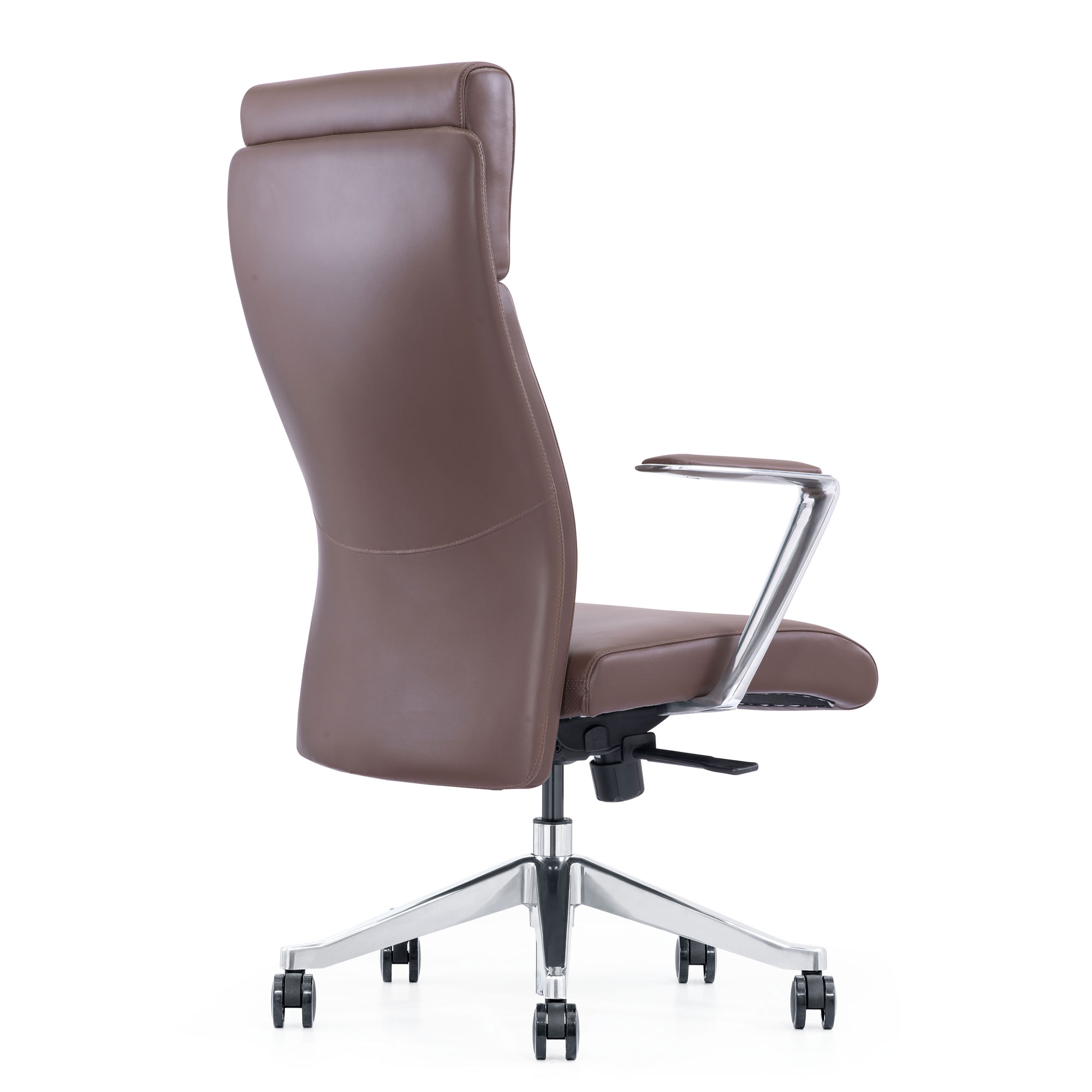 LOD68, brown leather chair, back angle view