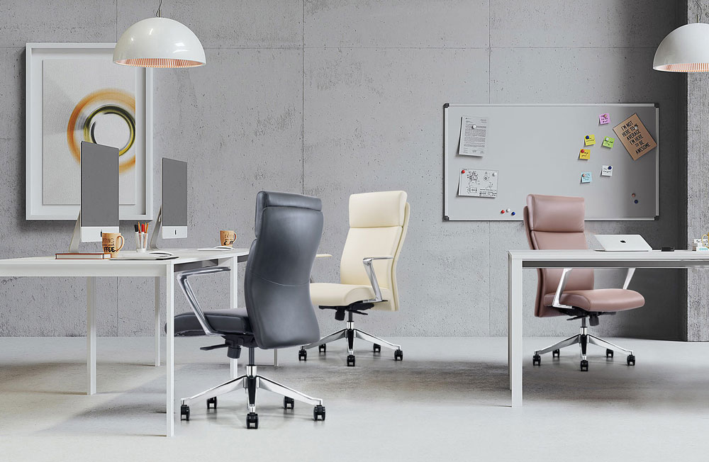Black, off-white and brown leather home office chairs