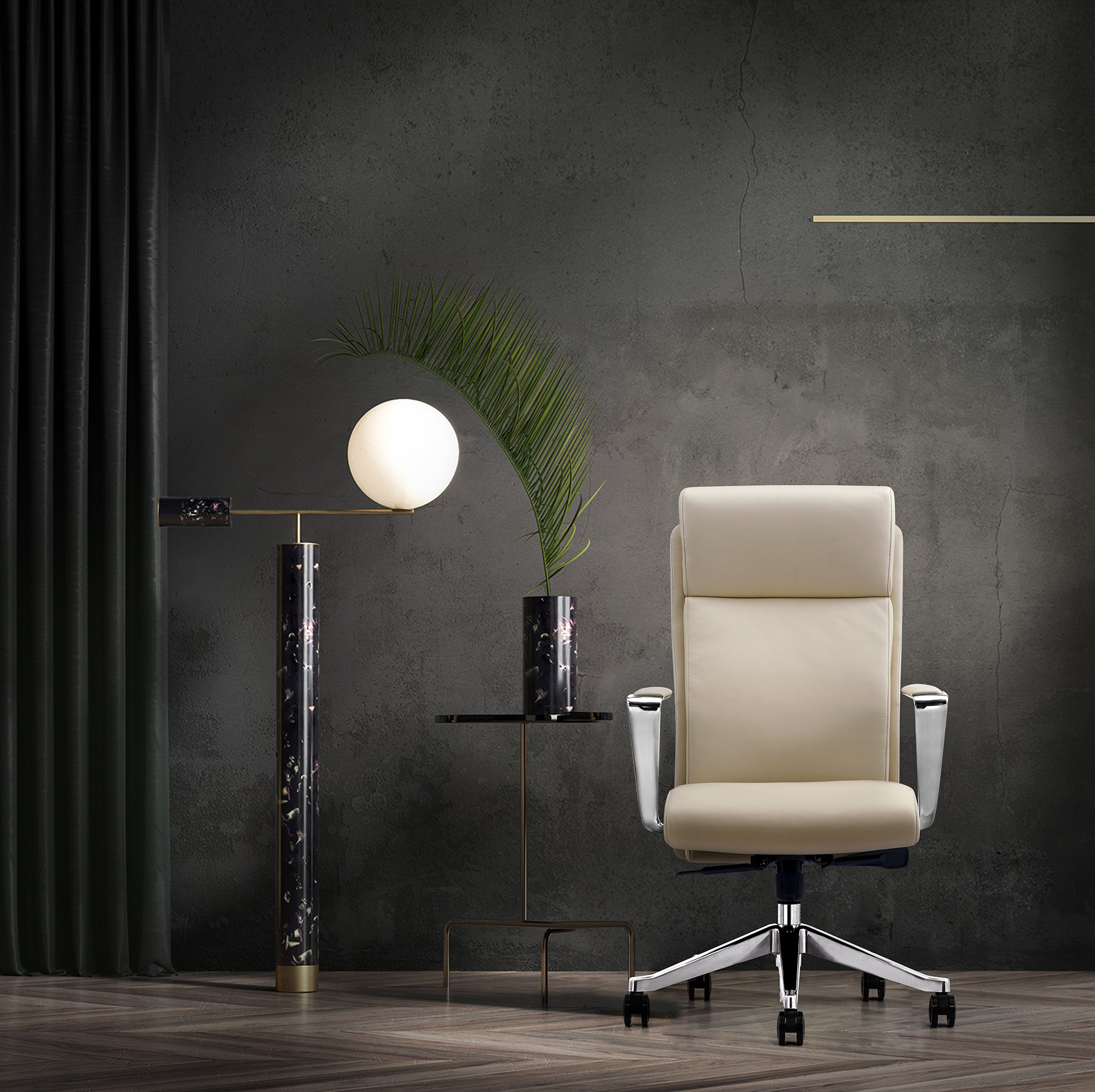 LOD68 Off-White High-back leather chair for home office