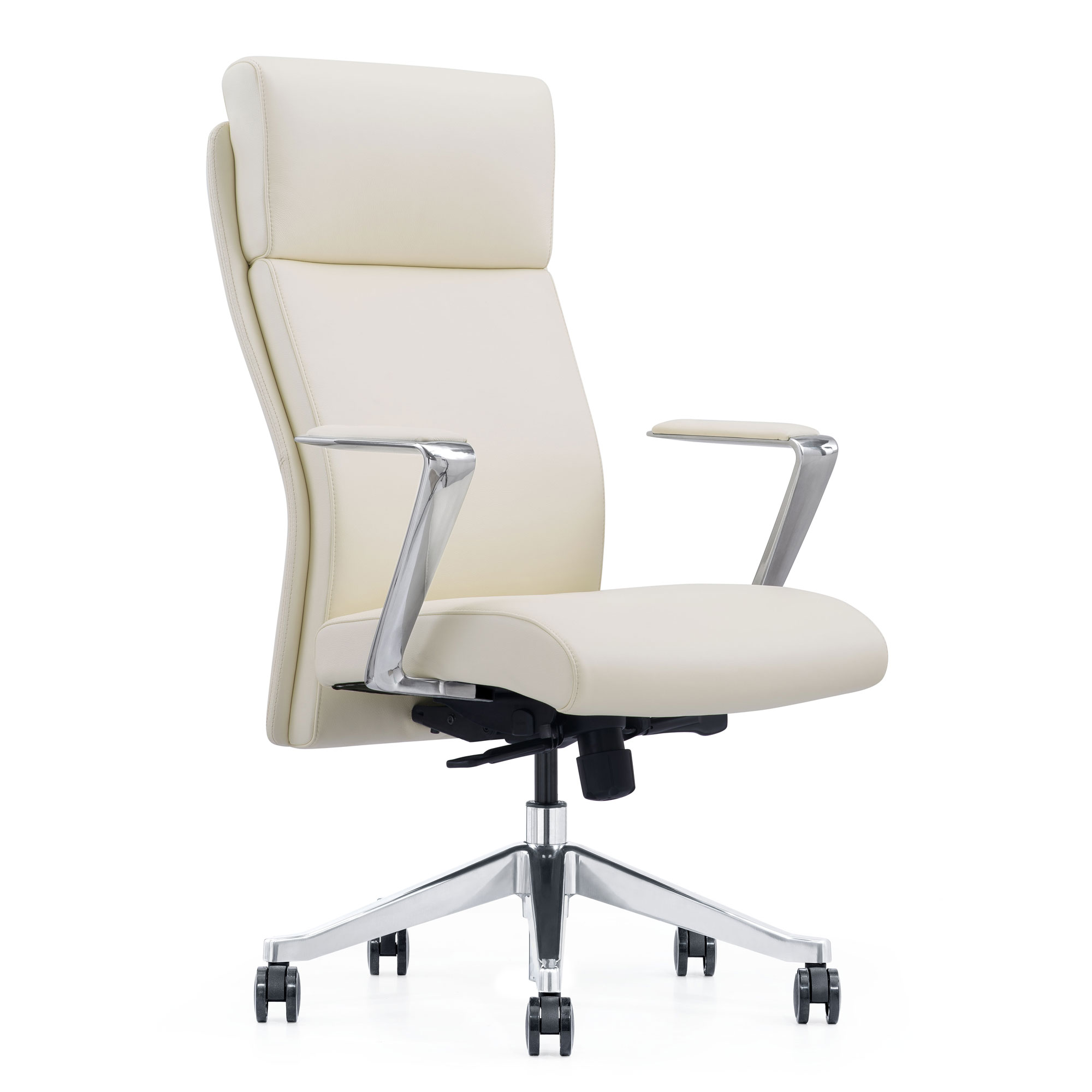LOD68 Off-white leather chair with arms and wheels