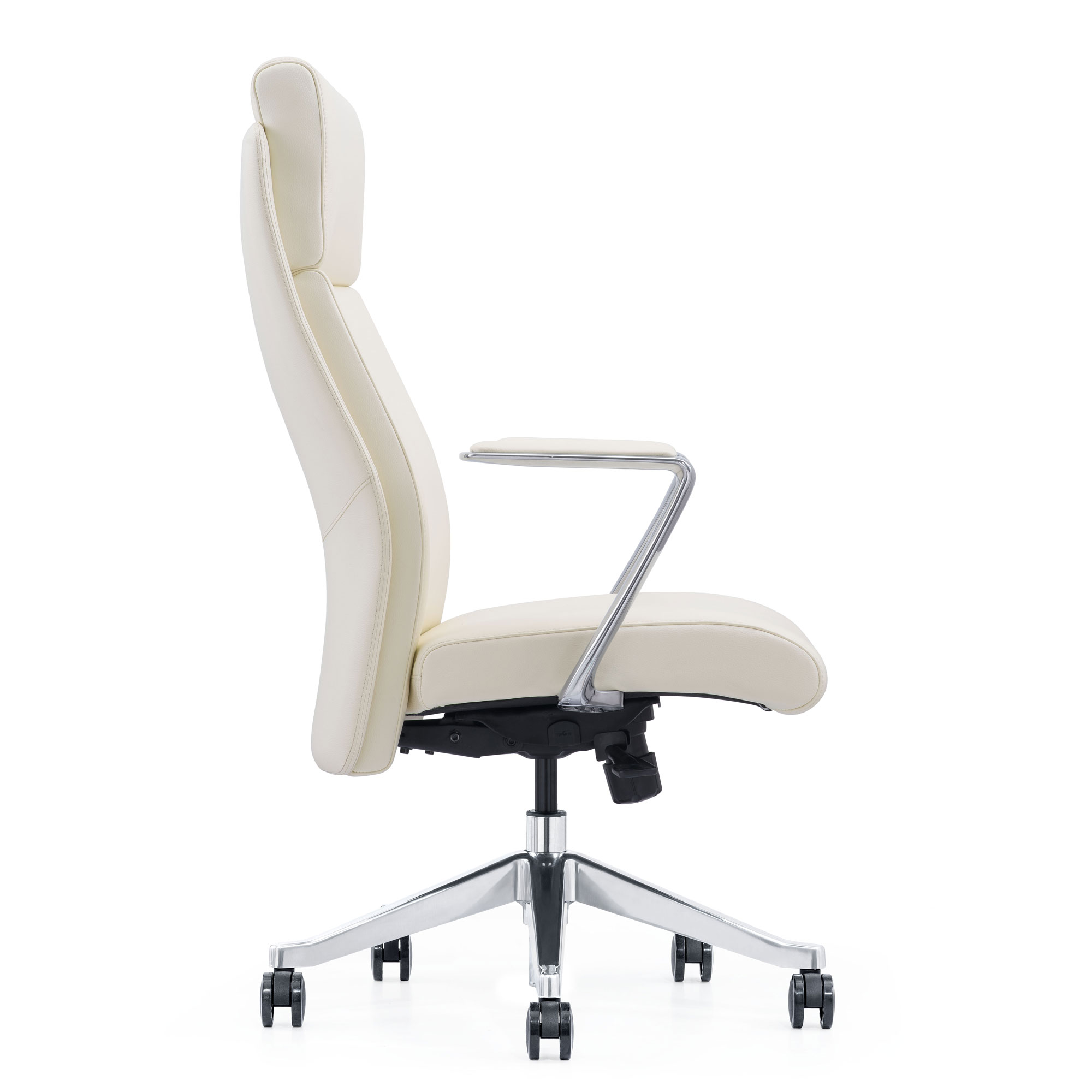 LOD68, Off-White Leather Home Office Chair, side view
