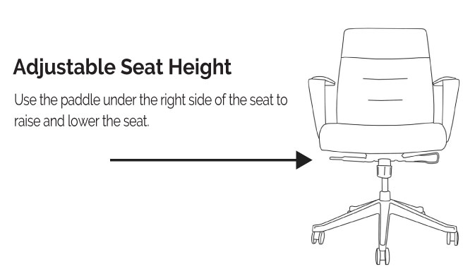 LOD75 and LOD78 Adjustable Seat Height Diagram