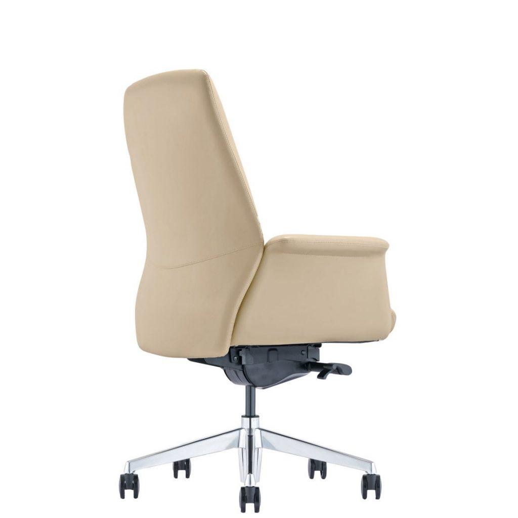 LOD85 Almond Leather Office Chair, back-angle view