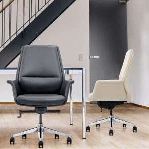 LOD85 Leather Home Office Chairs Shown in Black and Off-White