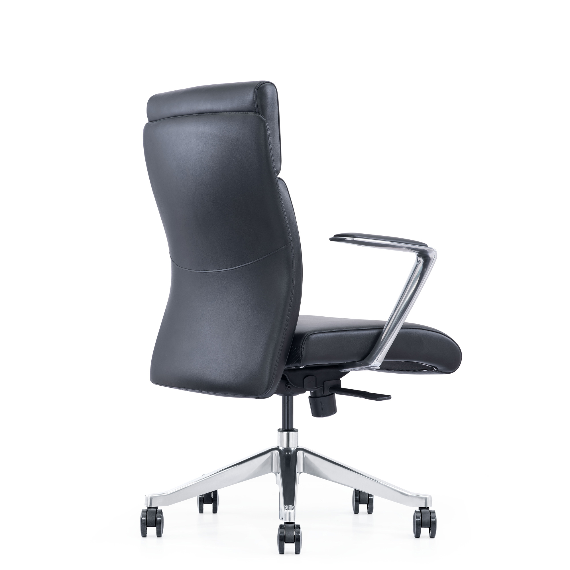 Black Leather Home Office Chair with Arms And Wheels