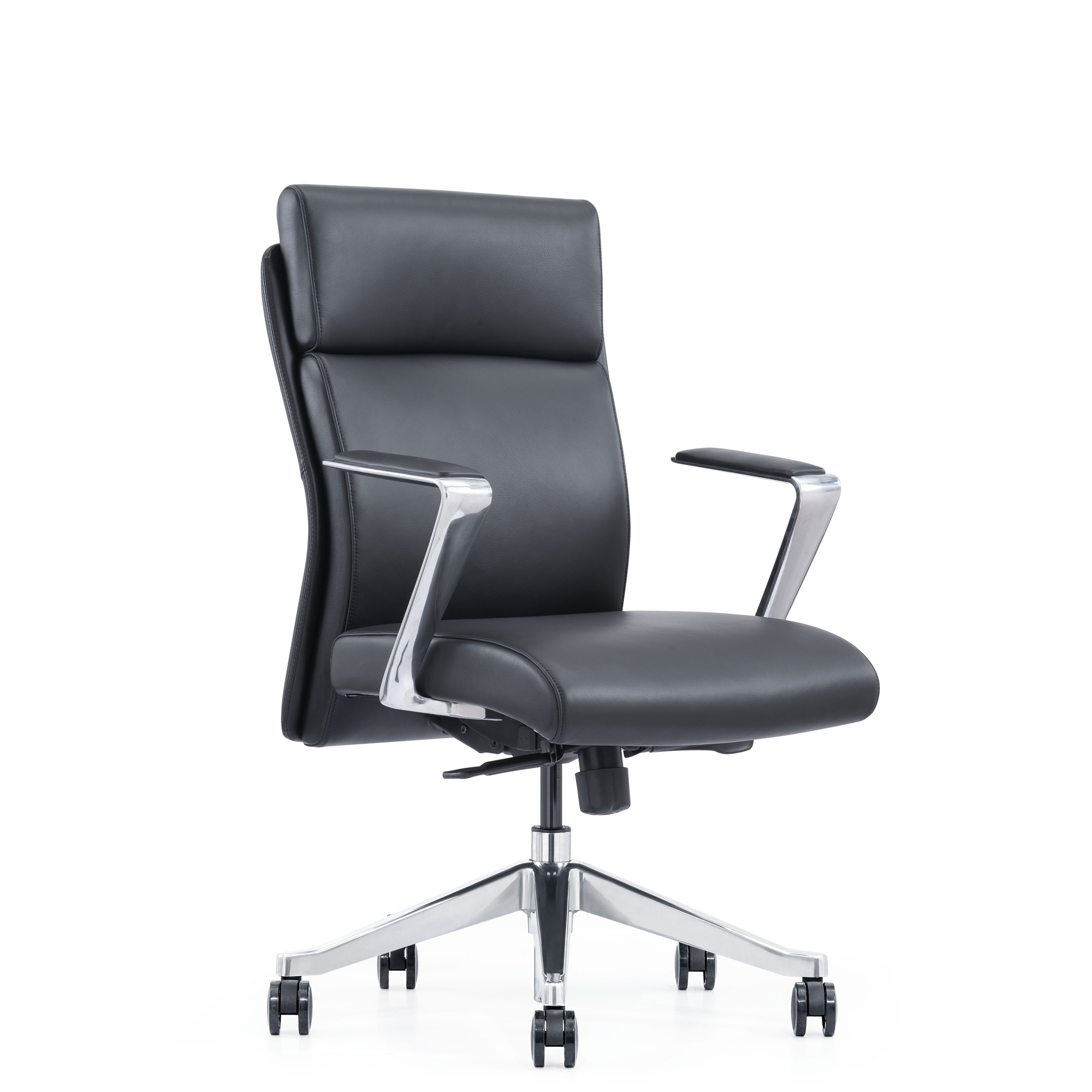 Black Leather Mid-Back Manager Chair