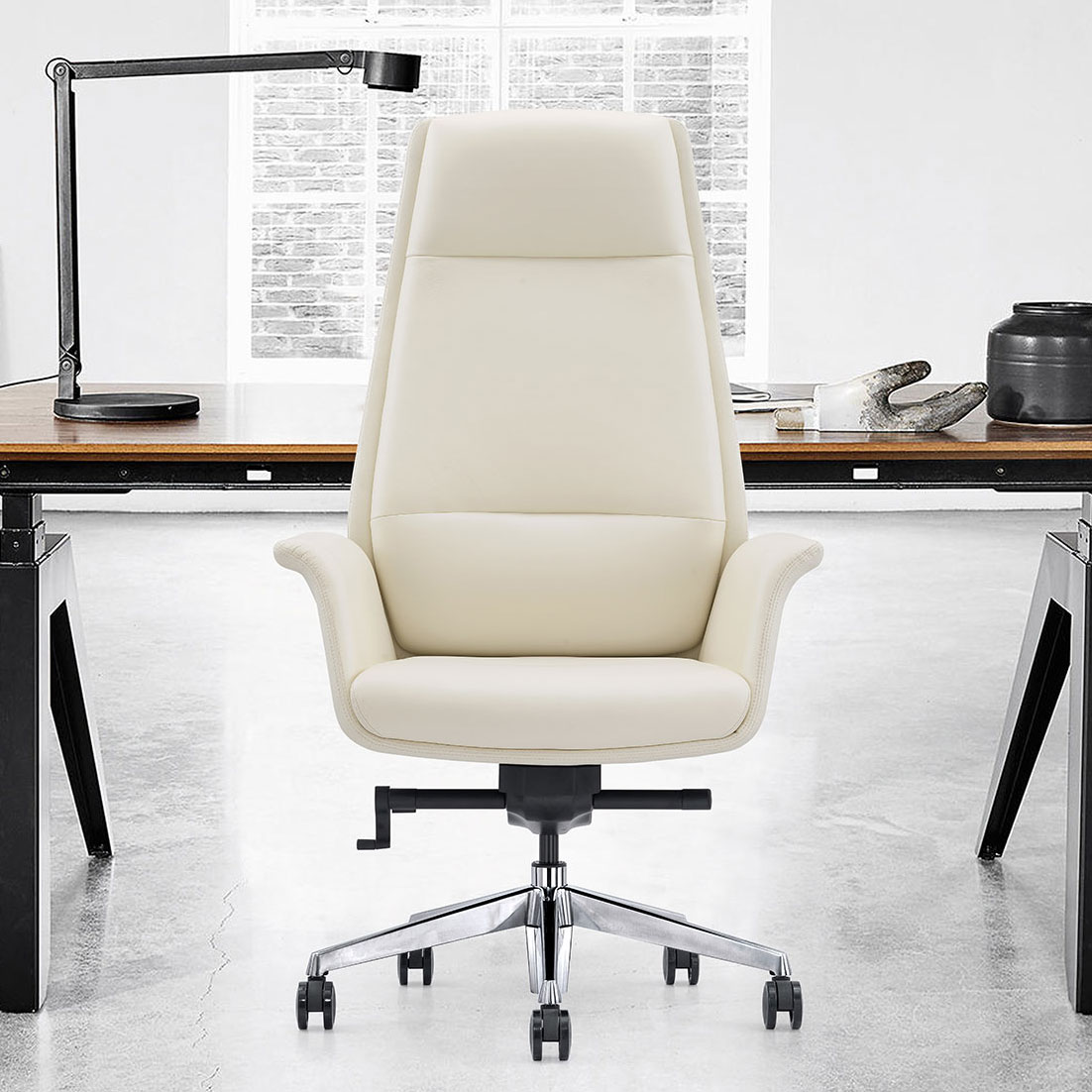 Off White Leather Executive Chair