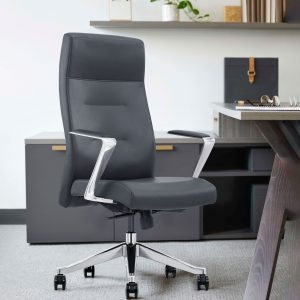 Gray Leather High-Back Home Office Chair