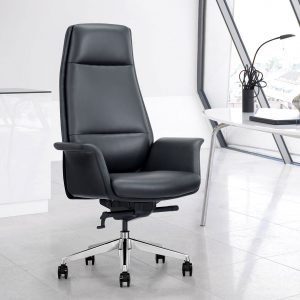 Black Leather Home Office Chair, Front Angle