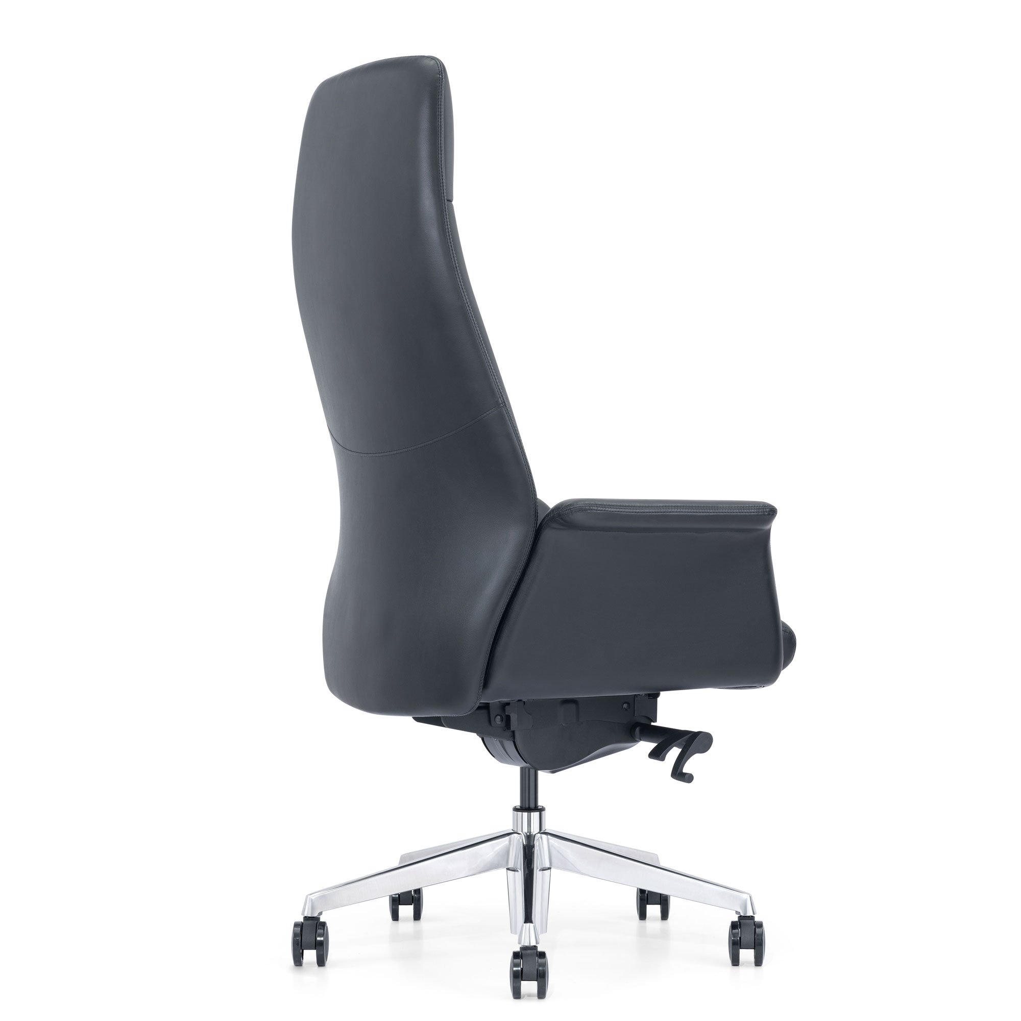 Bkack Leather Chair, Back Angle