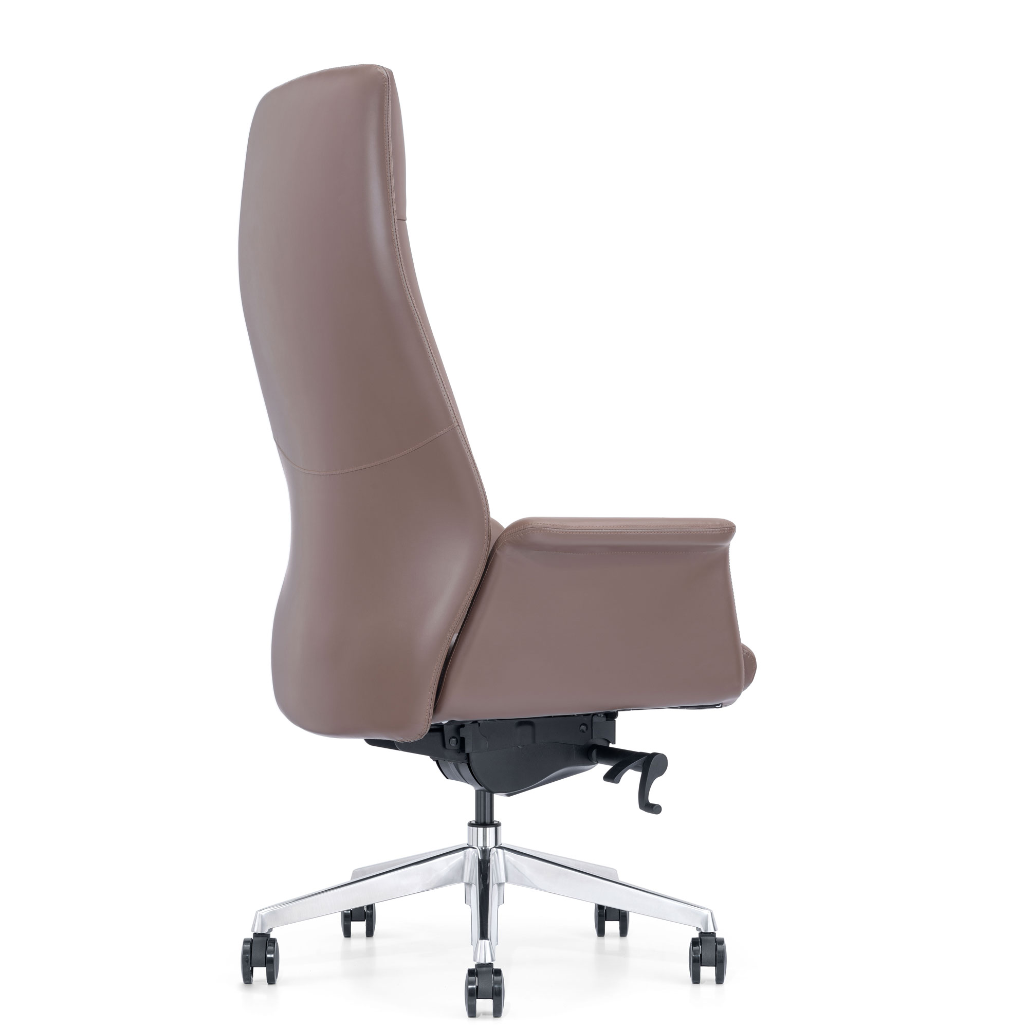 Brown Leather Chair, Black Angle