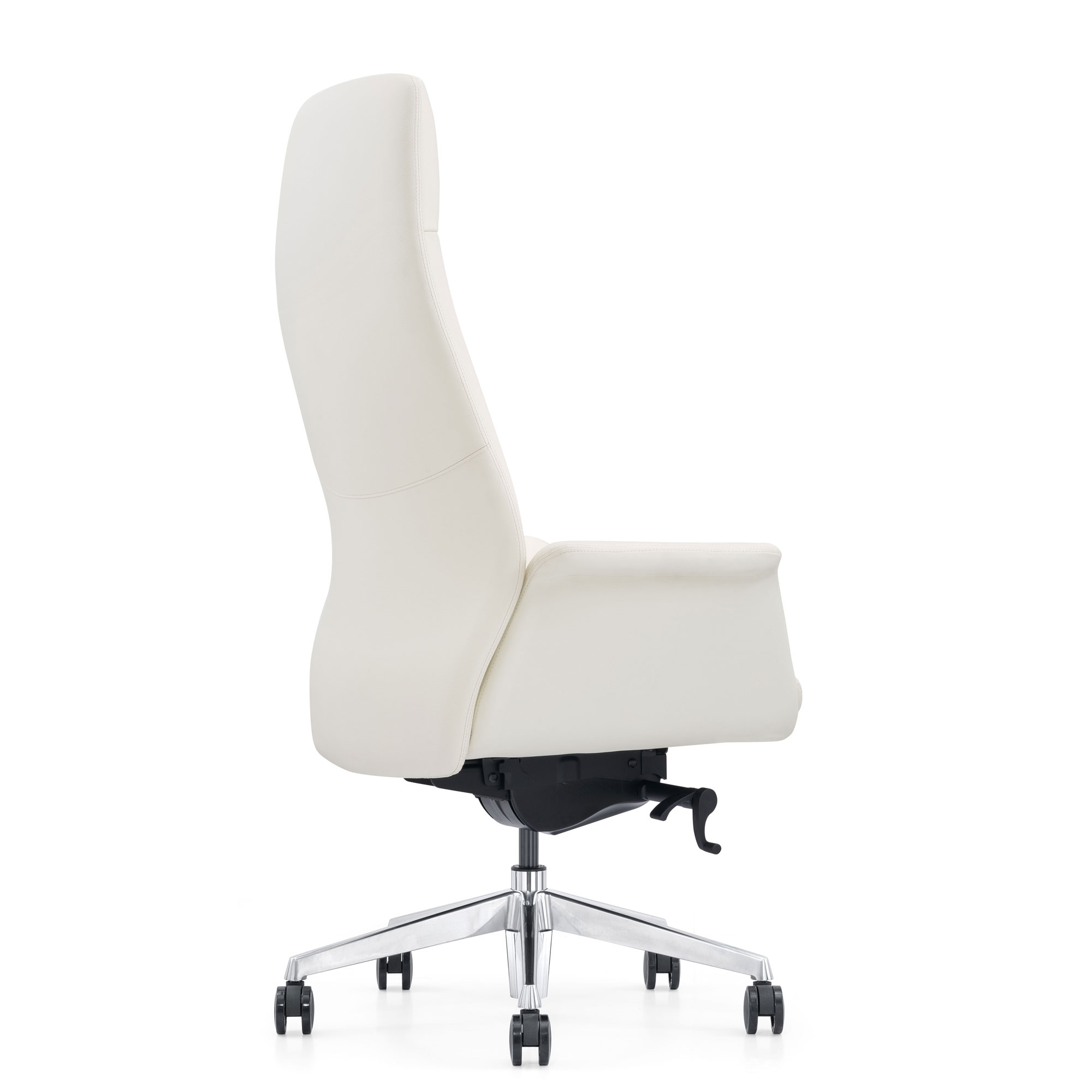 Off-white Leather Chair, Black Angle