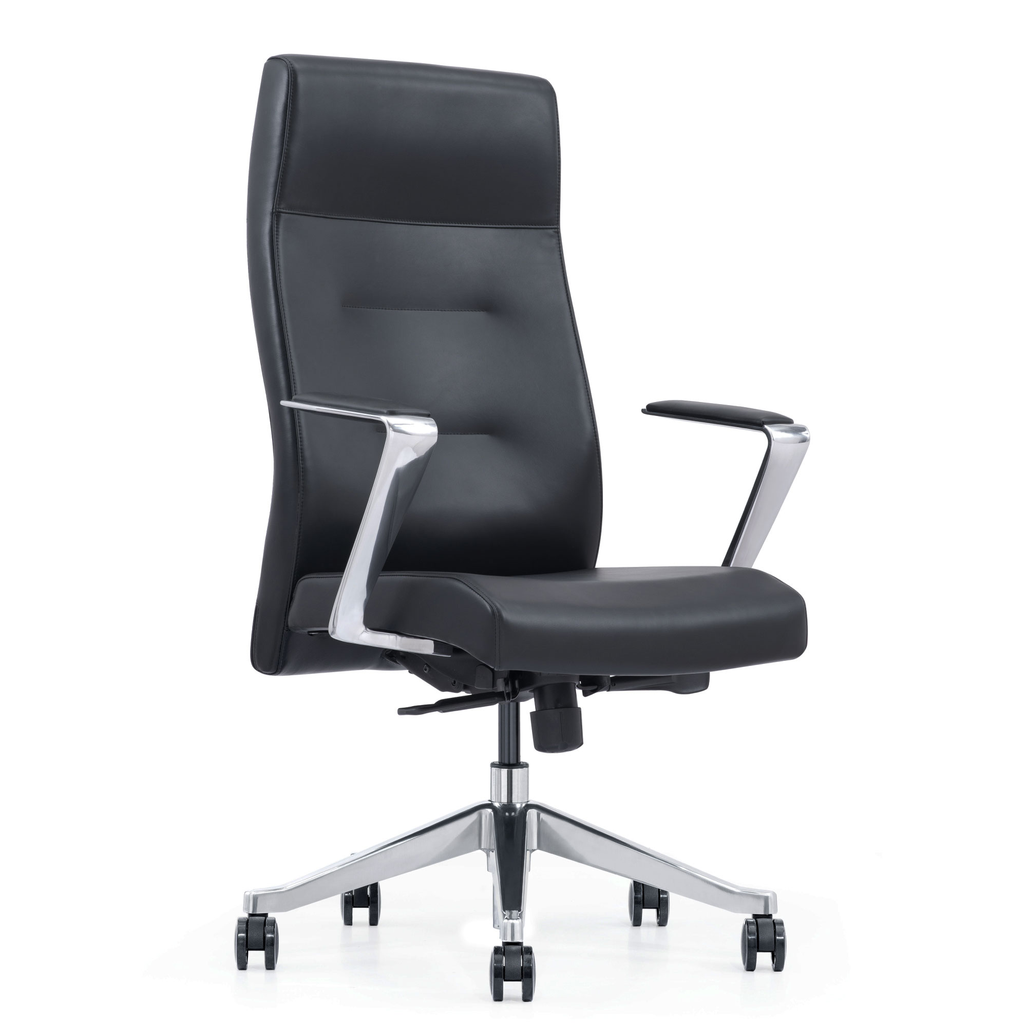 Reclining Black Leather Home Office Chair