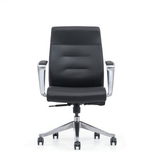 Classy black leather mid-back home office chair