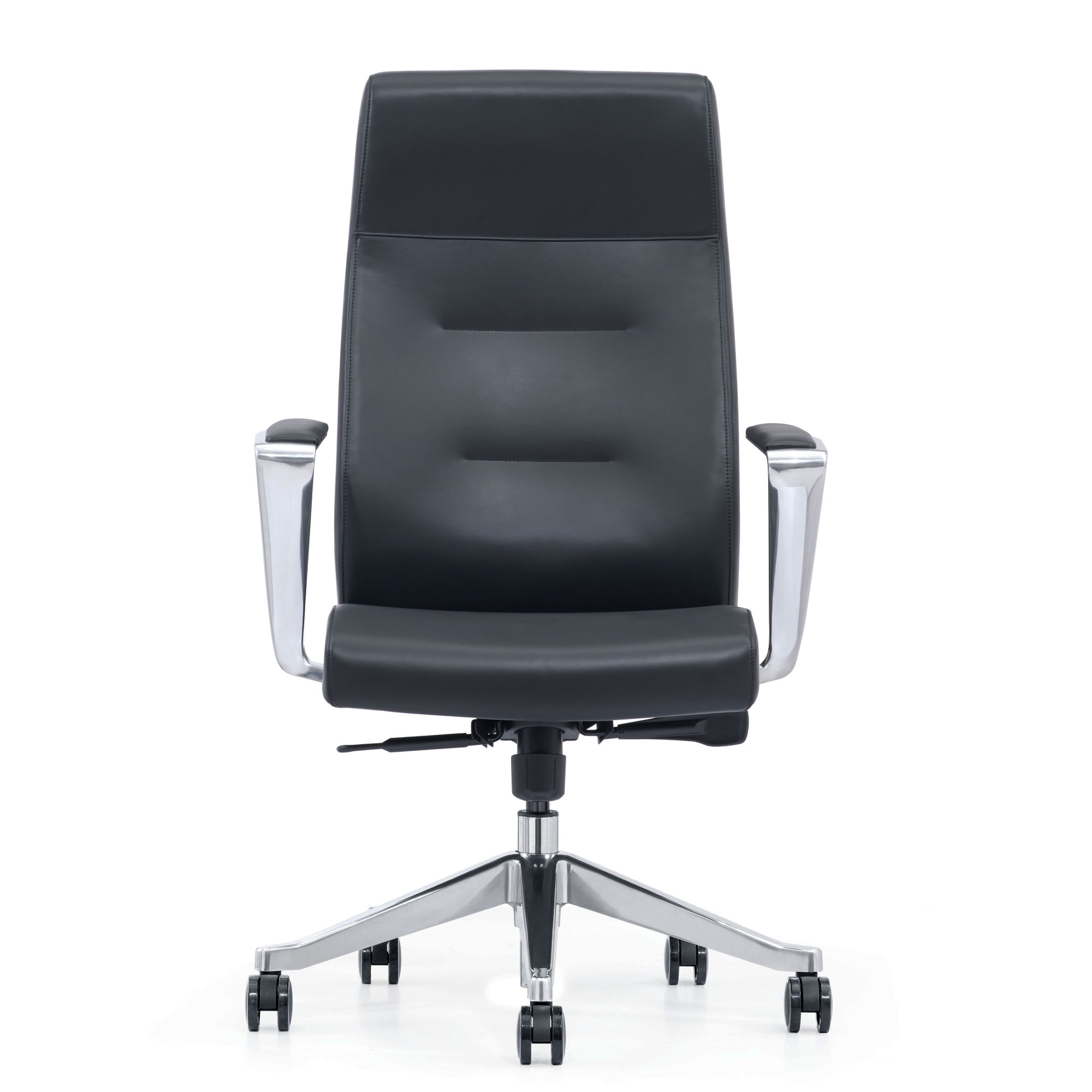 Black Leather Home Office Chair With Arms