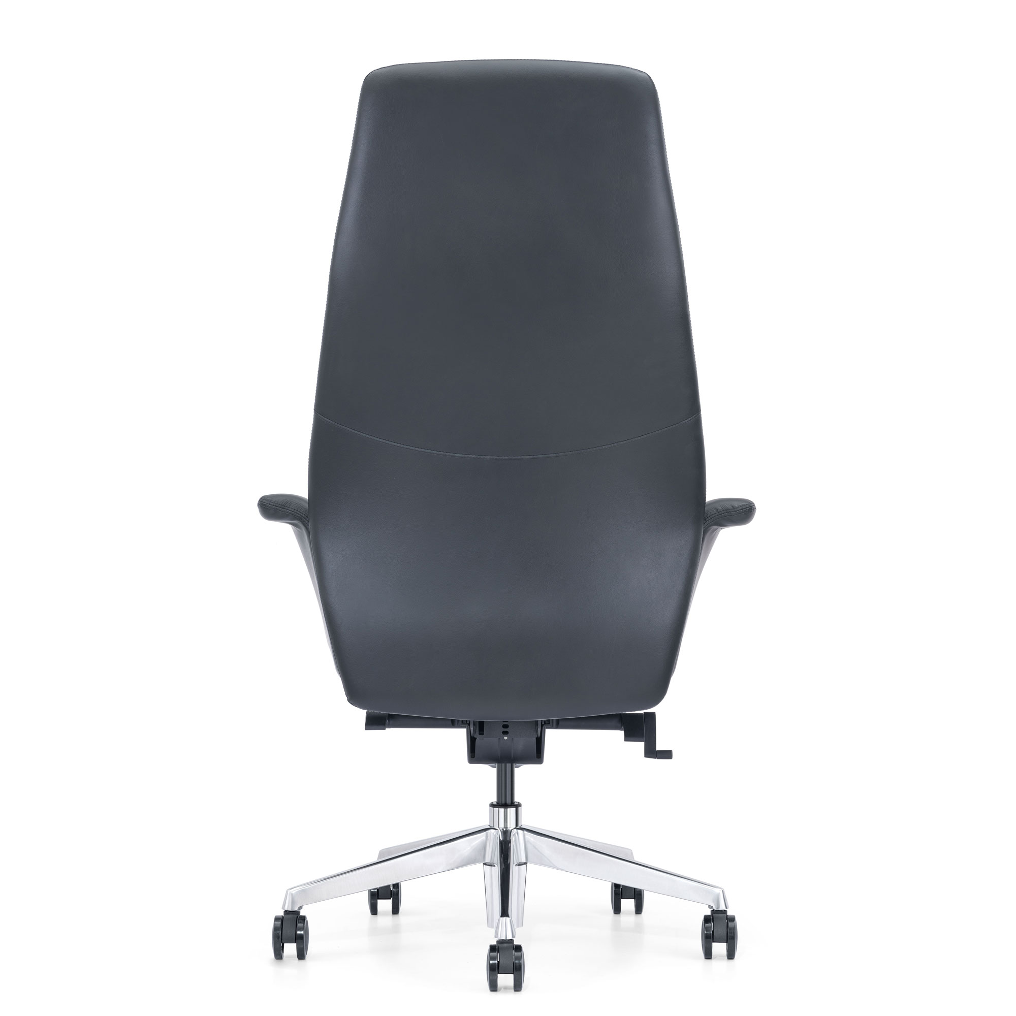 Black Leather Office Chair, Back View