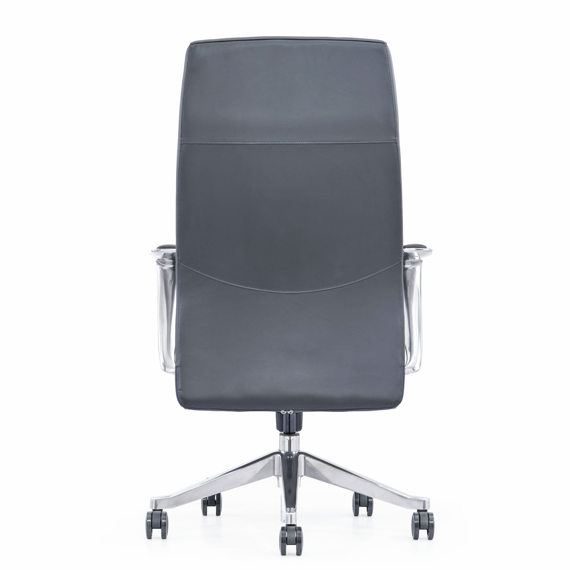 Gray Leather Executive Chair, Back View