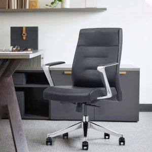 Mid-Back Gray Leather Home Office Chair
