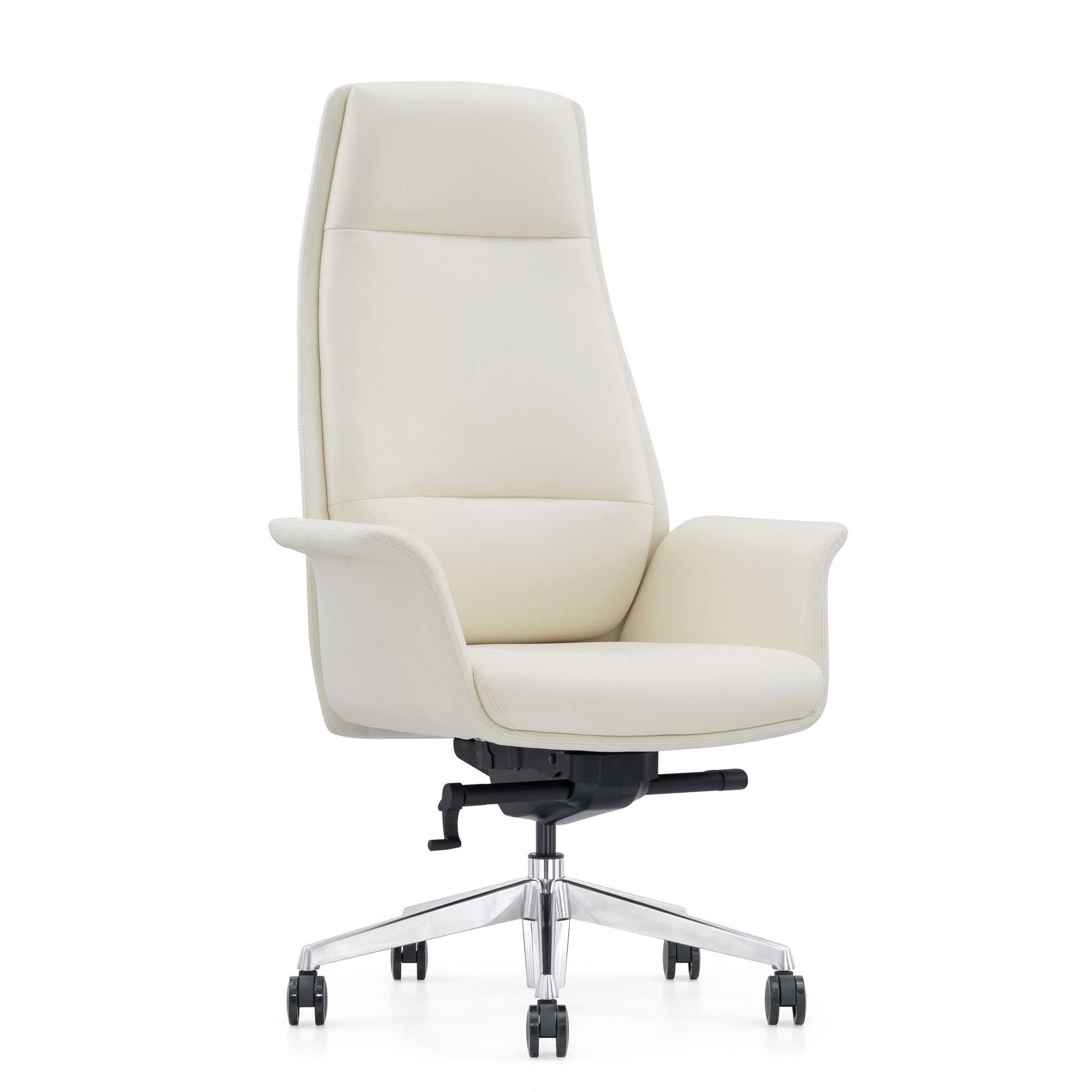 Off-White Leather Chair with Adjustable Height