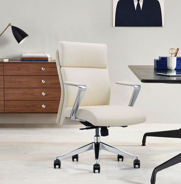 Off-White Leather Desk Chair