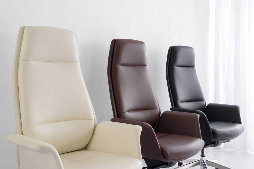 High-Back Leather Home Office Chair in Off-white, brown and black