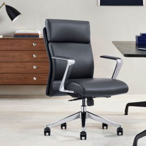 Black leather desk chair with arms and wheels