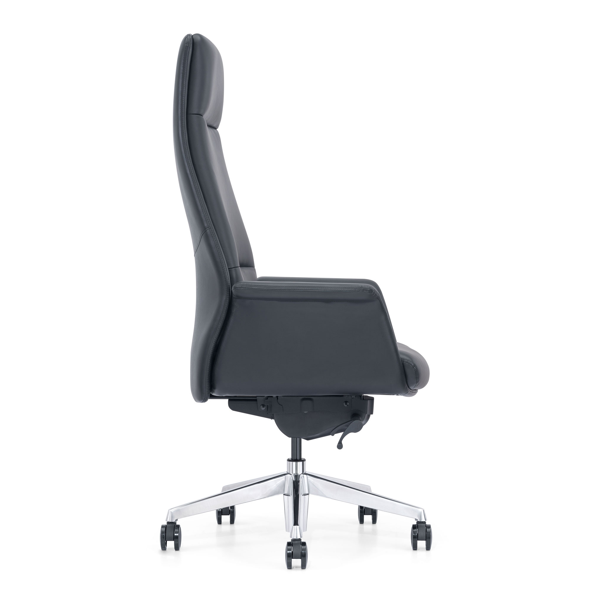 Black Leather High-Back Home Office Chair, Side View