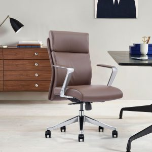 Brown Leather Mid-Back Office Chair
