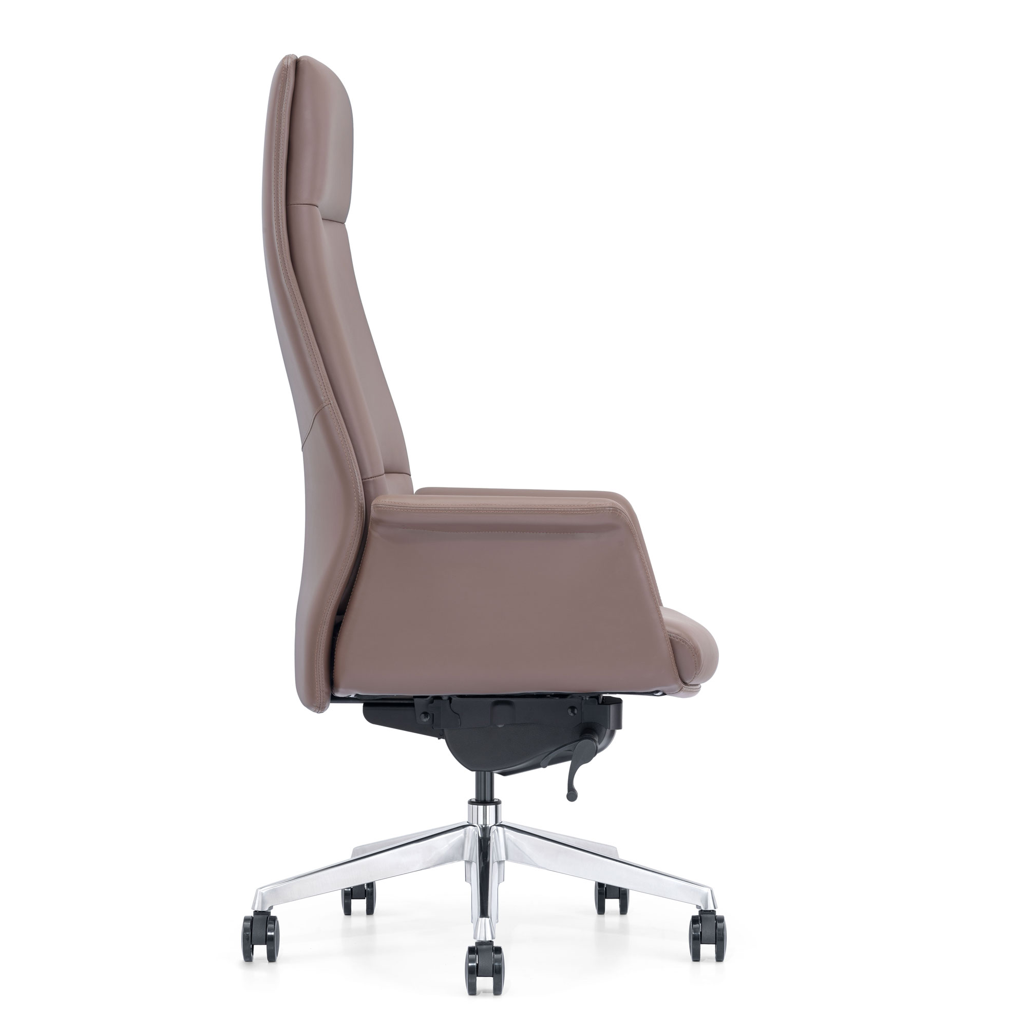 Brown Leather High-Back Chair, Side View