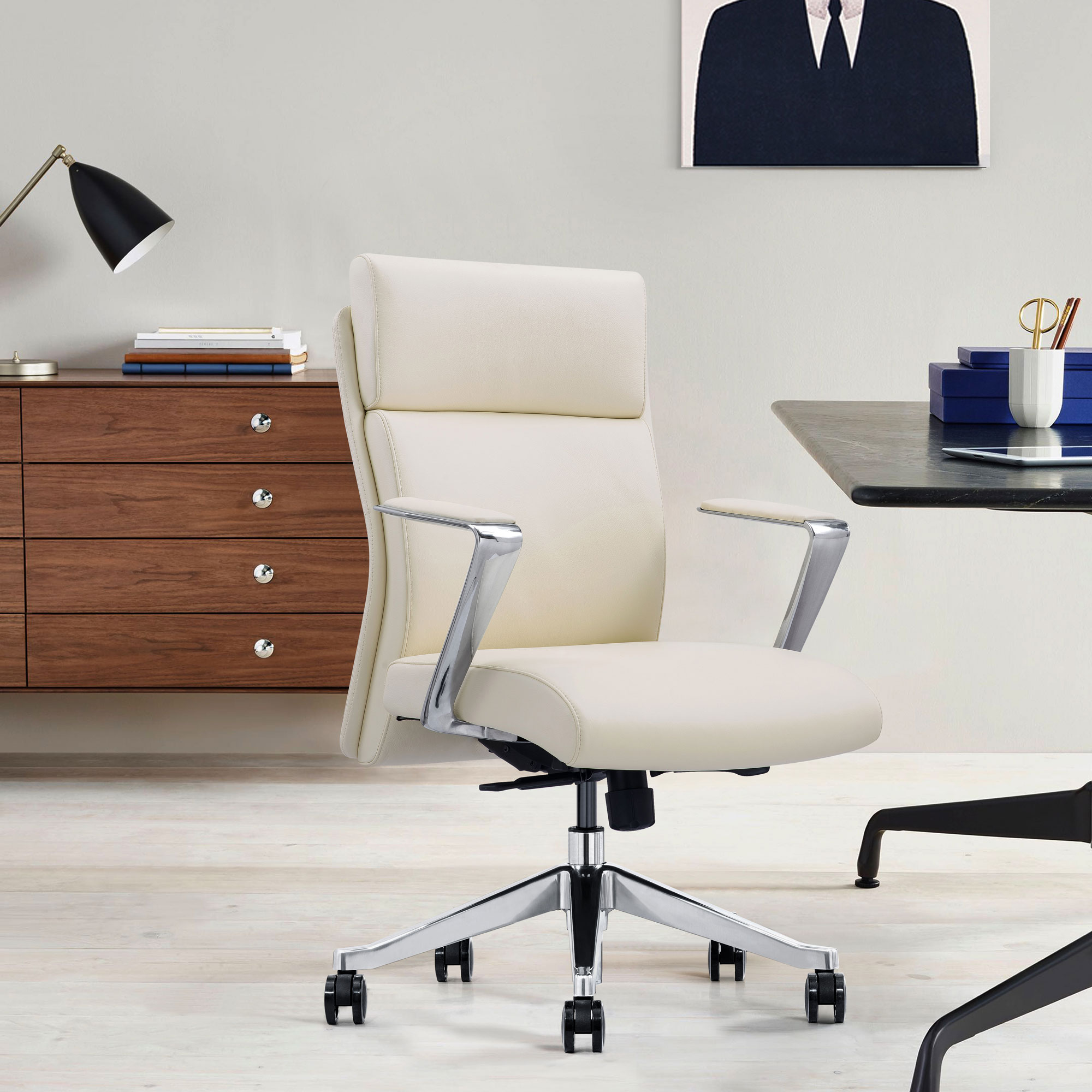 Off White Leather Desk Chair