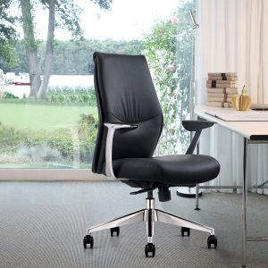 Black Leather Mid-Back Home Office Chair